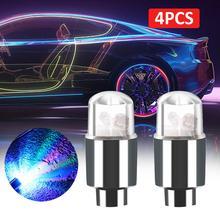4 pièces vélo lumières moto voiture pneu pneu en aluminium Air Valve tige bouchon roue décoration lampe coloré LED clignotant lumière