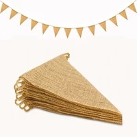 more style 3m vintage jute hessian burlap bunting banner wedding party photography props wall hanging celebration decoration