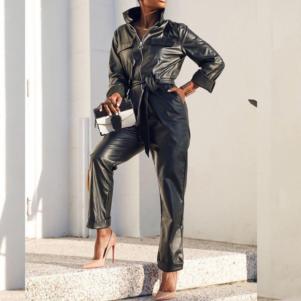 Womail Jumpsuits Women Streetwear Slim Long Sleeve Motorcycle Punk Gothic Hip Hop Overalls Belt Pants Harem Trouser 2020