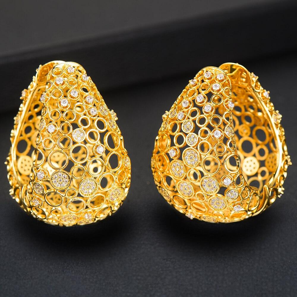 ¡Novedad de 2019! Pendientes de circonia cúbica de lujo de alta calidad de SISCATHY, pendientes de aro dorados para mujer