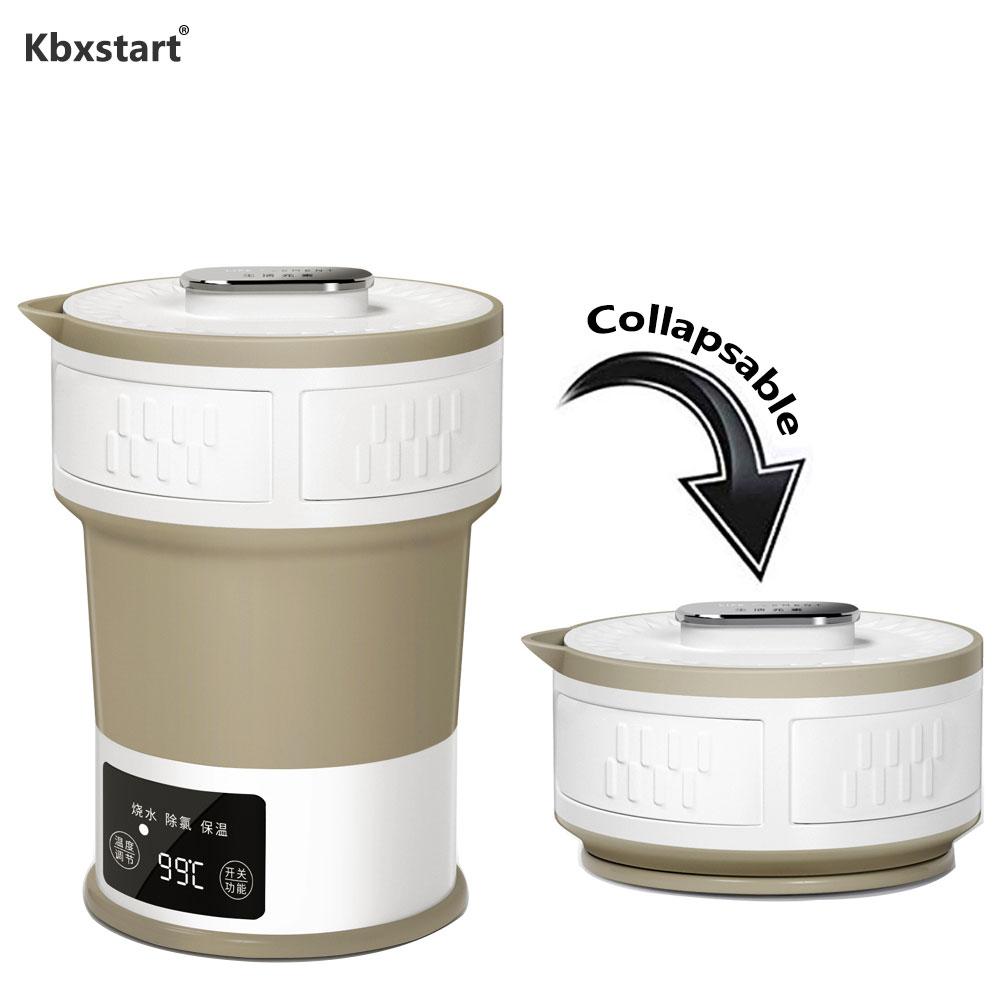 Kbxstart Folding Kettle Electric Portable Travel Kettle 100V-220V Adjustable Voltage Infant Edible Silica Gel Material