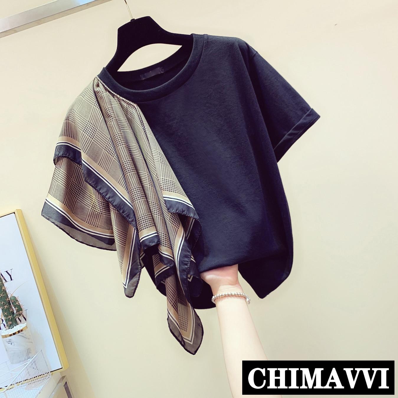 Camiseta de verano Retro para mujer, camiseta negra con cuello redondo, bufanda Irregular, camisa holgada de manga corta, camisetas casuales para chicas