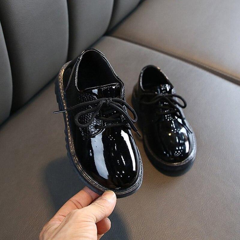 2021 Children School Uniform Dress Shoe Baby/Toddler/Little Kid Black White Flats Autumn Boys Microf