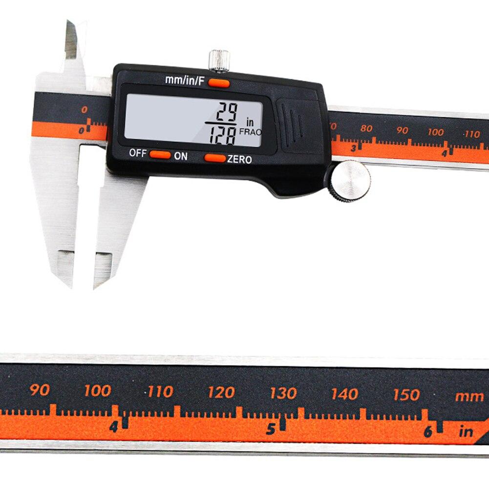 150mm pantalla Digital gobernante Vernier calibrador de acero inoxidable de DIY herramienta de medición fracción MM pulgadas LCD pantalla exacta de