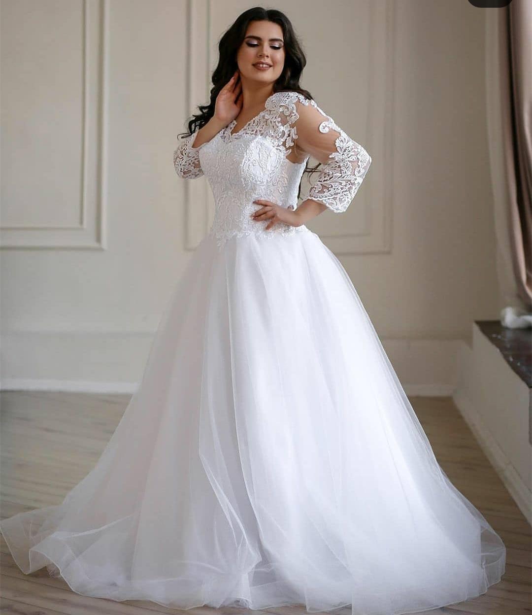 Half Sleeve Wedding Lace Appliques Floor Length 2021 O-neck Court Train Robe De Mariee White Plus Size Big Custom Made Bridal