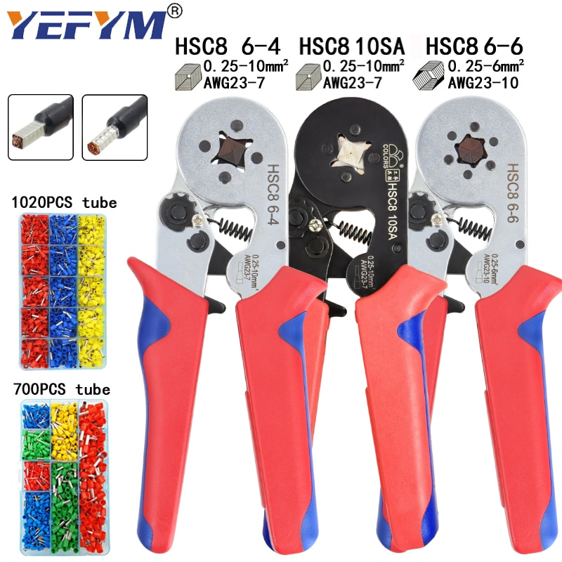 Tubular terminal crimping tools mini electrical pliers HSC8 10SA/6-4 0.25-10mm2 23-7AWG 6-6 0.25-6mm