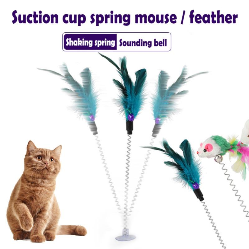 1PC Cat Toys Feather Stick Spring Suction Cup With Bell Spring Mouse Cat Supplies Spring Feather Pet
