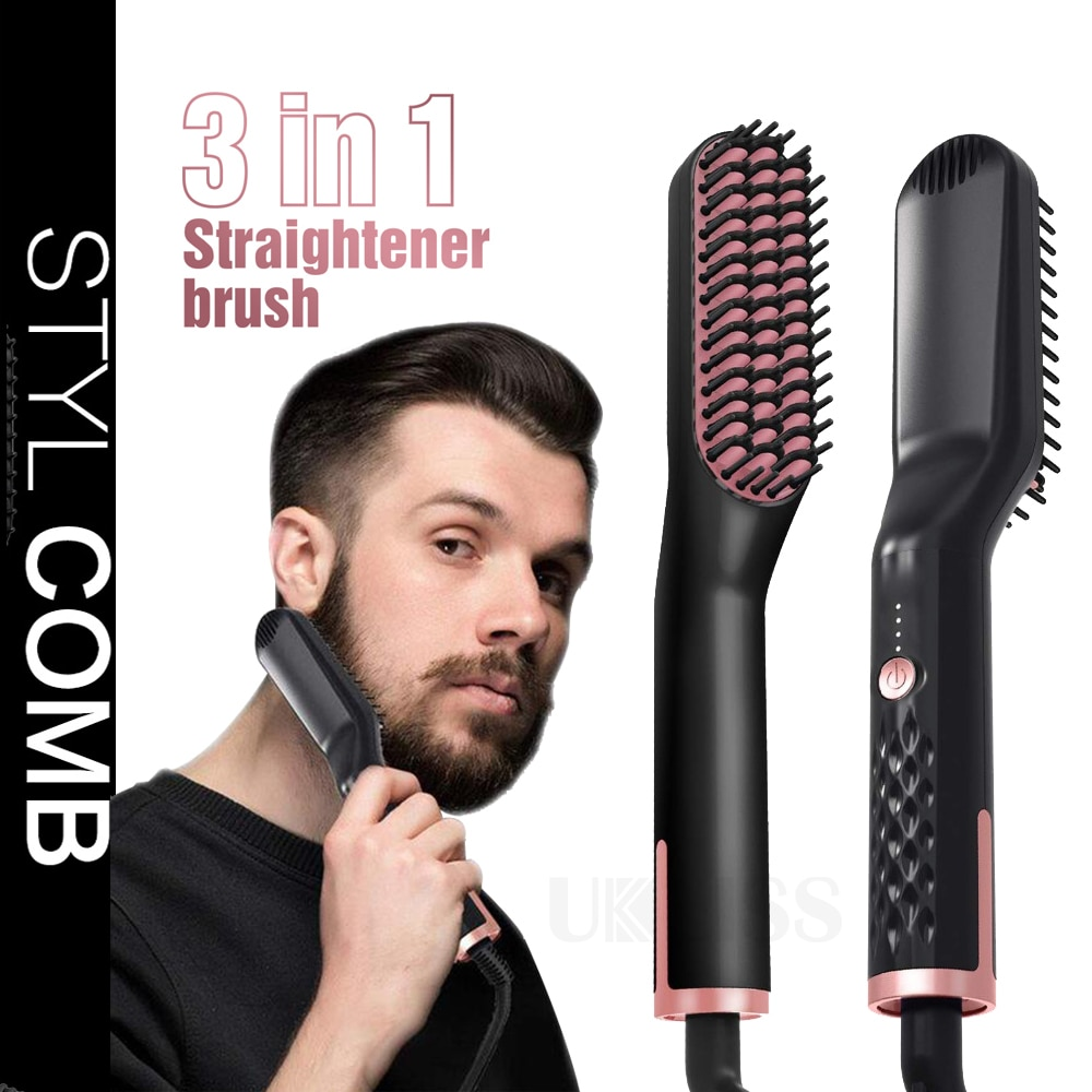 Men Beard Straightener Unisex Hair Straightener Brush Professional Straightening Beard Comb Fast Heating Hair Curler Hot Comb