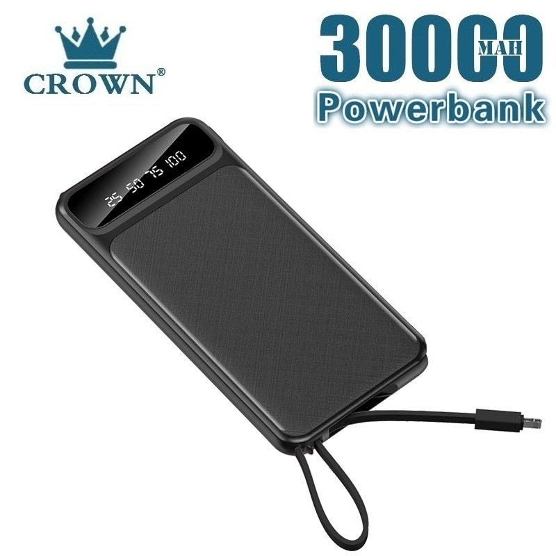 30000mah Power Bank External Battery PoverBank USB LED Powerbank Portable Mobile phone Charger for X