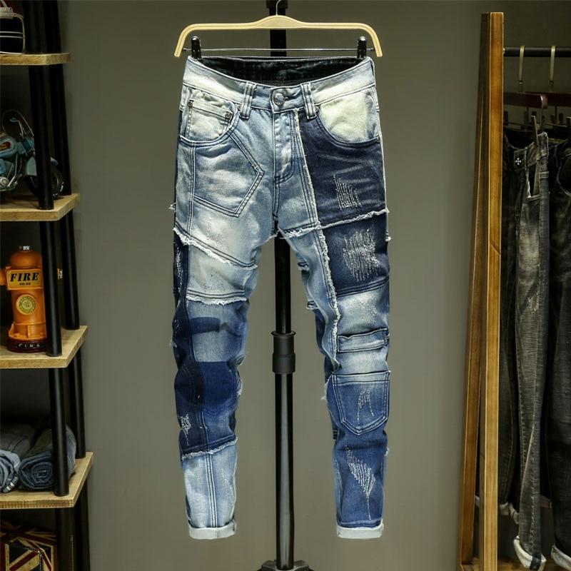 Jeans masculinos splice jean homme denim magro rasgado spijkerbroeken heren biker calças de estiramento fino ajuste calças quentes pantalon luxe