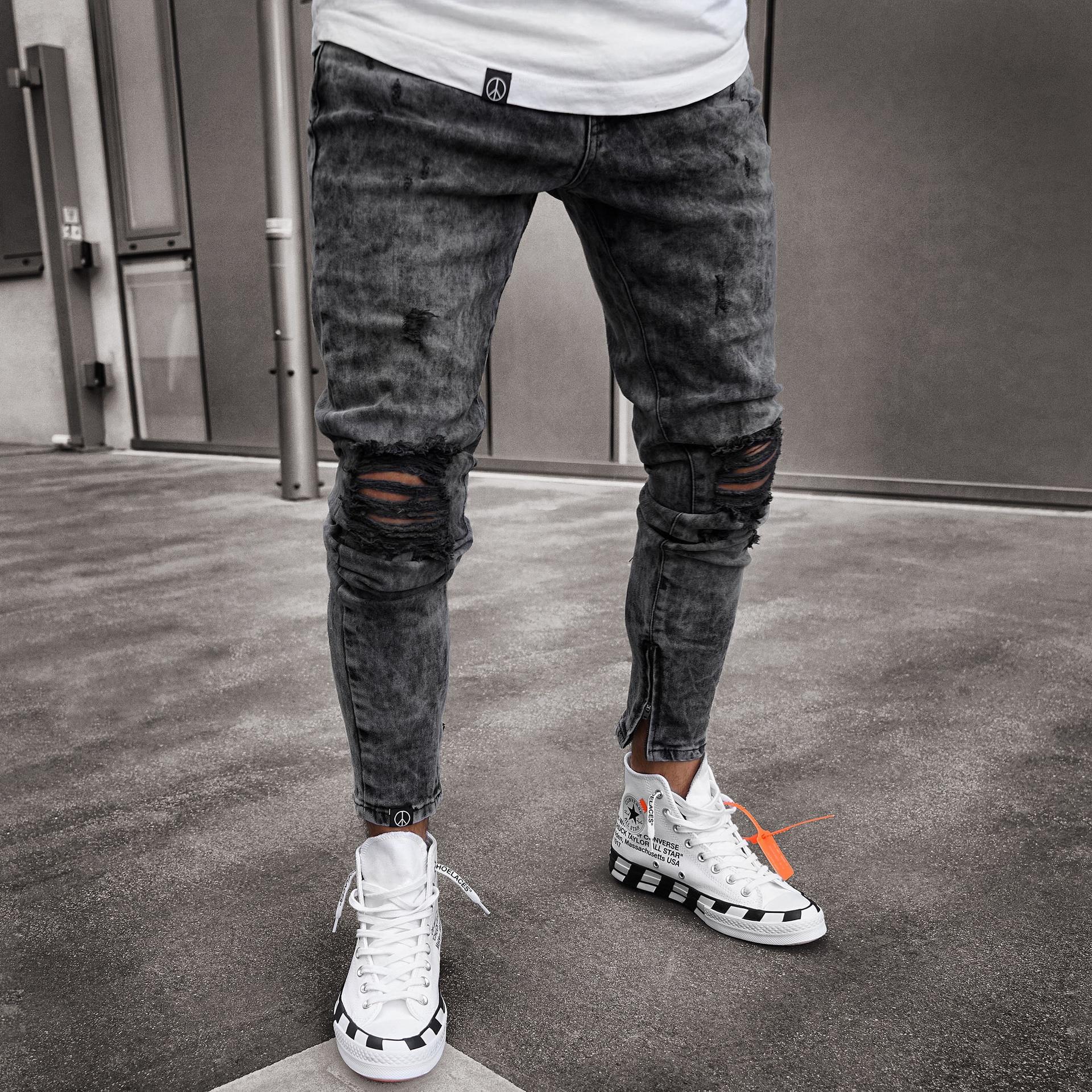 Мужские облегающие джинсы, черные рваные байкерские джинсы, Мужские повседневные эластичные длинные брюки-карандаш на молнии для бега, 2021
