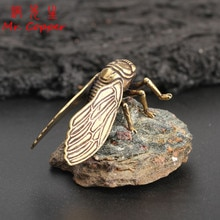 Antika Bakır Cicada Figürleri Ev Dekor Aksesuarları Vintage Pirinç Hayvan Heykeli Küçük Süsler Ofis Masası Süslemeleri El Sanatları