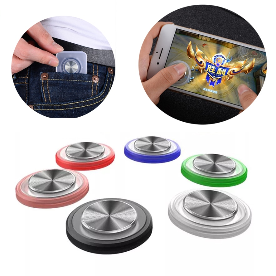 Round Video Game Controller For Mobile Phone Android Iphone Tablet Rocker Metal Button Controller For PUBG With Suction Cup