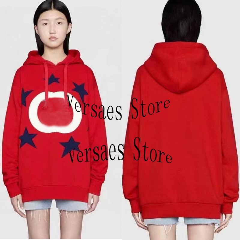 2021 luxury brand five pointed star printing fashion women's top temperament versatile throw hat casual loose Pullover coat