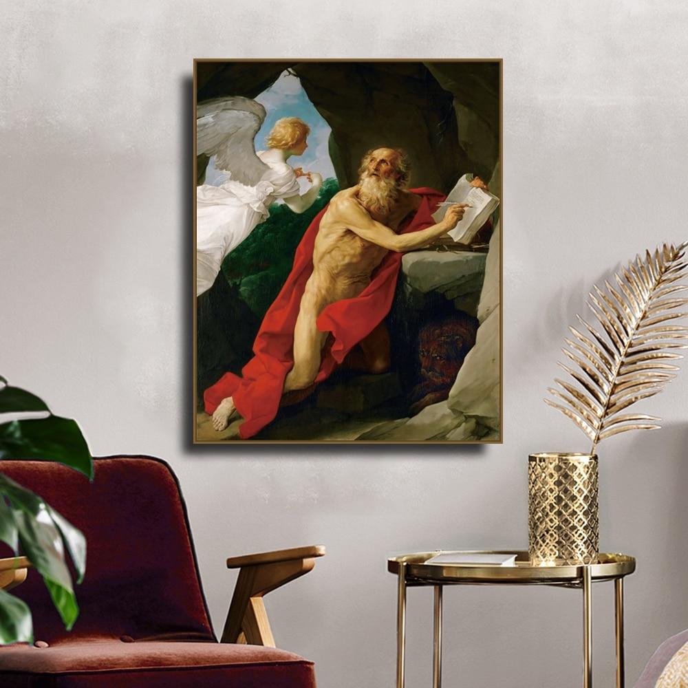 Cuadro de decoración de lienzo de pintura de lienzo de caligrafía de San Jerome de Guido Reni para decoración de sala de estar decoración del hogar