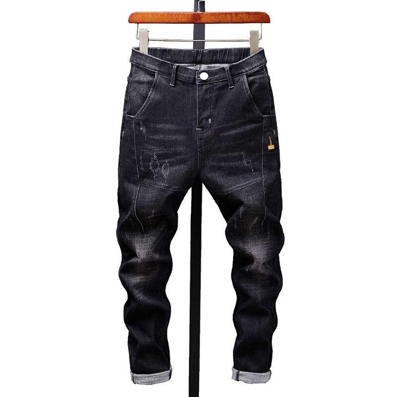 Узкие джинсы, мужские облегающие джинсовые джоггеры на молнии, эластичные мужские джинсы, Толстые мужские джинсы с маленькими ногами, модны...