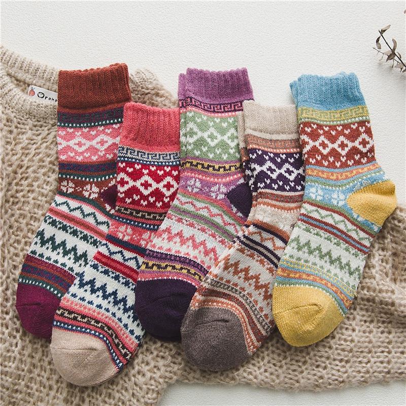 Calcetines de lana gruesos y cálidos para mujer, calcetín de Navidad Vintage,...