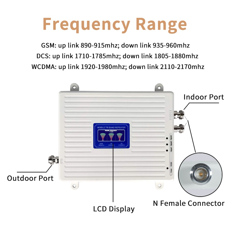 2G 3G 4G GSM LTE Repeater Cellular Signal Amplifier 4G Cellular Amplifier GSM 900 1800 2100 Mobile Signal Booster Repeater enlarge