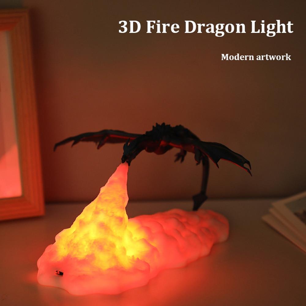 ثلاثية الأبعاد المطبوعة LED التنين مصباح أنيمي الشكل الأطفال الجدول ليلة ضوء الداخلية للمنزل غرفة نوم عطلة الديكور هدايا الأطفال