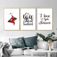 nordic fashion makeup posters and canvas painting beauty quote wall art print eyelash red lips pictures for bedroom home decor