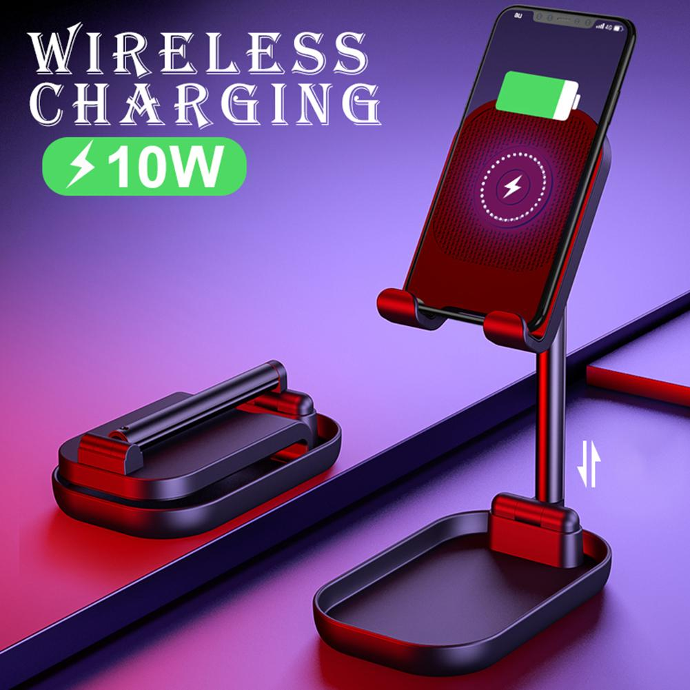Soporte de teléfono ajustable para tableta soporte de teléfono soporte de escritorio soporte de carga inalámbrica soporte de teléfono con Cable de carga inalámbrico