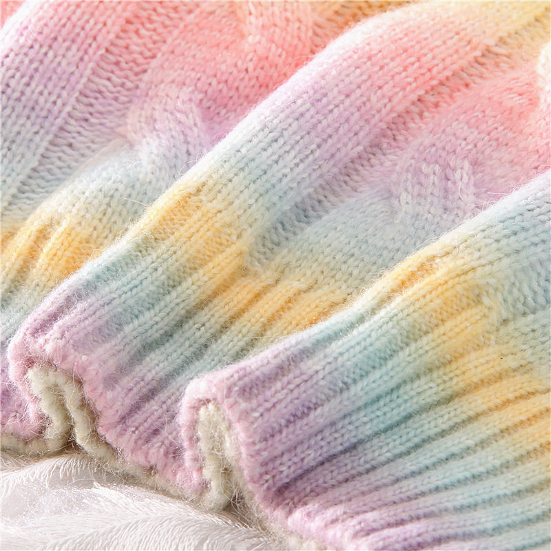 Autumn Winter Women Rainbow Sweaters Tie Dye Pullover O-Neck Long Loose Striped Korean Jumpers Candy Color Oversized Female Tops enlarge