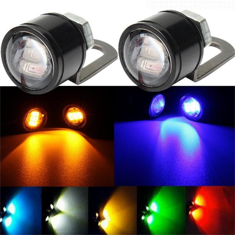 2 uds. Lámpara de 12V para motocicleta, luz de circulación diurna, ojo de águila, luz LED de marcha atrás, lámpara de Flash estroboscópica, luz de espejo para motocicleta