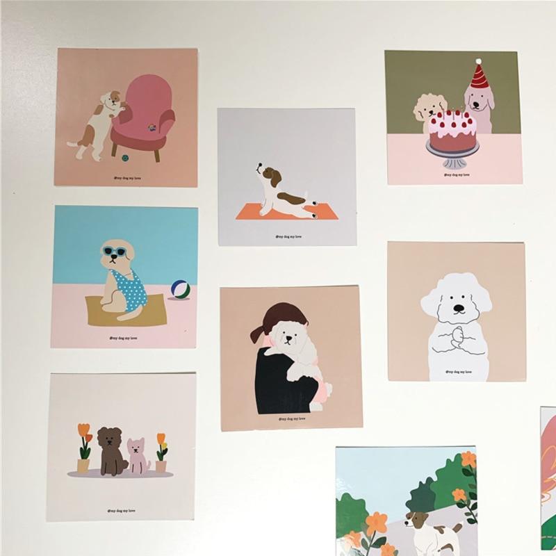 coreano-simpatico-cartone-animato-cane-cartolina-cartone-animato-pittura-decorazione-carta-collocazione-fai-da-te-camera-da-letto-sfondo-adesivo-da-parete-puntelli-foto