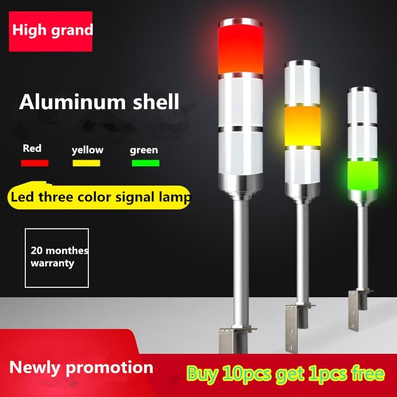 الصمام 3 اللون L قضيب مؤشر ضوء 24V/220v تحذير ضوء ورشة عمل آلة إشارة الطنان إنذار السلامة الحذر الصوت Led ضوء