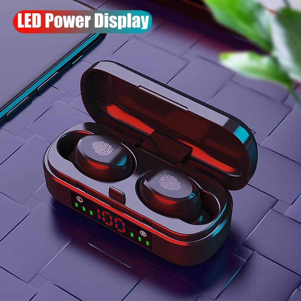 Fones de ouvido hd sem fios tws, à prova dágua, com bluetooth 5.0, com caixa carregadora, display de led, mini fones para celular