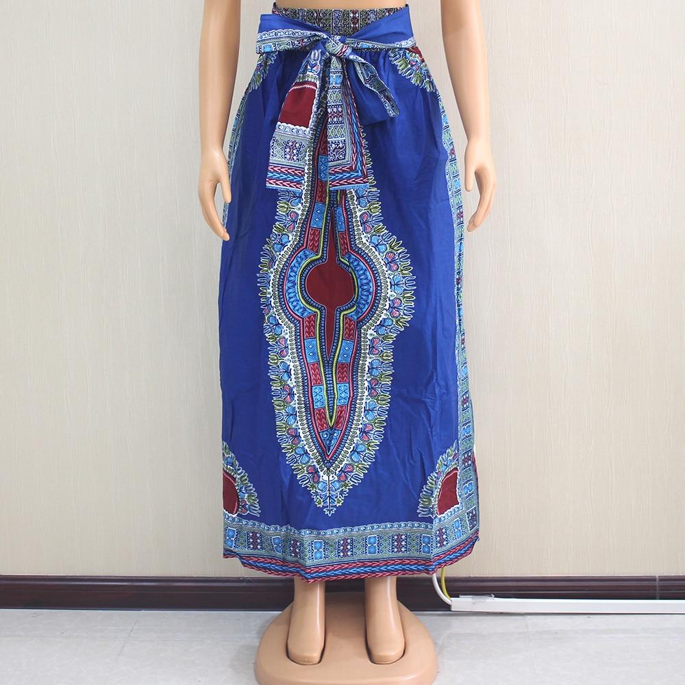 Falda larga azul cintura elástica algodón cera Dashiki estilo étnico bolsillo con fajas falda africana para mujer