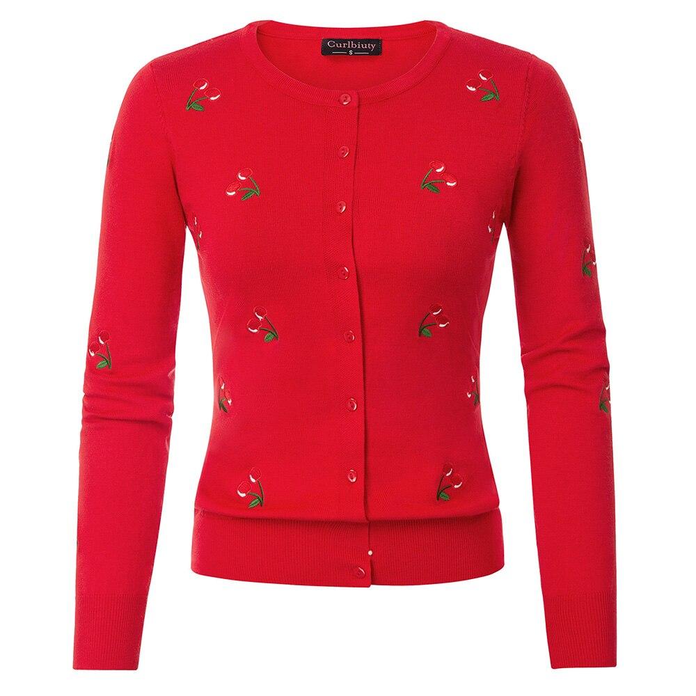 Jerseys de mujer, cárdigan de punto con bordado de cerezas, prenda de punto, cuello redondo, manga larga, elásticos, delgados, abrigos con costuras abiertas para primavera