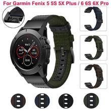 22 26mm Smart Watch Band Strap For Garmin Fenix 5X 5 3HR D2 S60 GPS 6 6X Pro Watch Quick Release nylon leather Easyfit Wristband