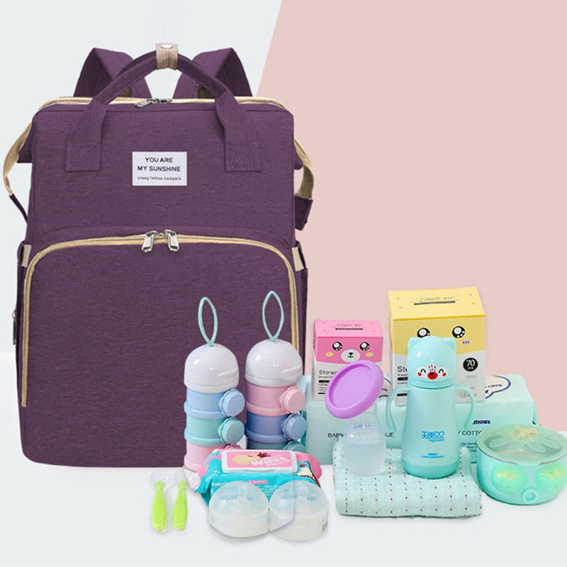 Large Capacity Diaper Bags Mummy Birthing Backpack Travel Portable Multifunction Fold Baby Bed Waterproof Stroller