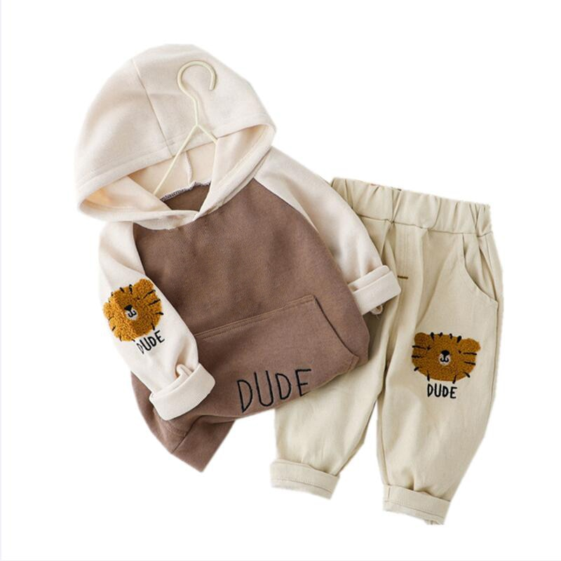New Spring Autumn Children Clothes Baby Boys Girls Cartoon Hooded T Shirt Pants 2Pcs/sets Kid Infant Clothing Toddler Sportswear spring autumn baby boys girls clothes toddler baby kids hooded cartoon 3d ear hoodie sweatshirt tops clothes infant clothing