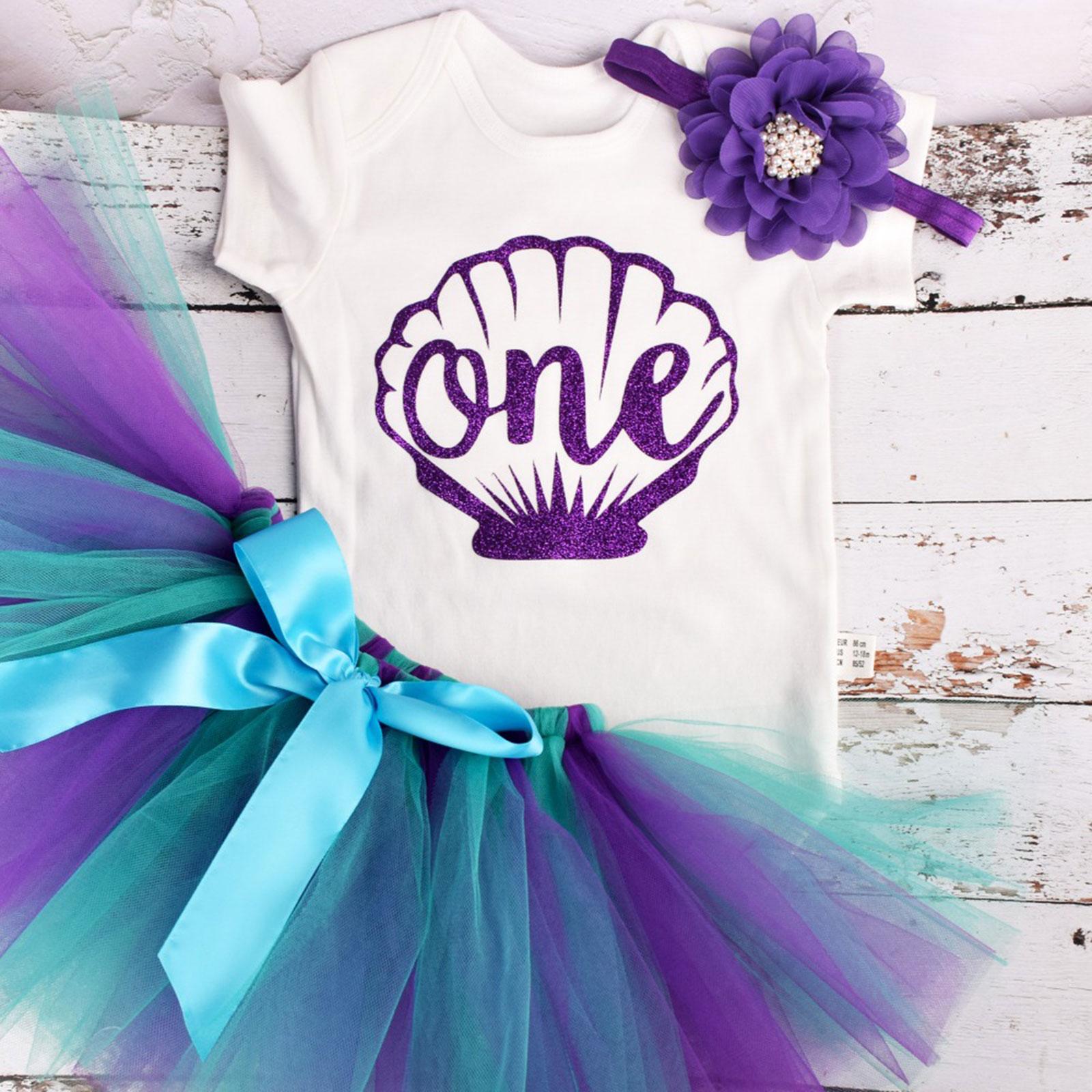 Baby Girl Mermaid Costumes Short Sleeves Romper Mesh Skirt with Flower Headband Halloween Cosplay Bi