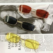 Candy Color Vintage Glasses Retro Shades Rectangle Sunglasses UV400 Metal Square Frame Lens Trendy E