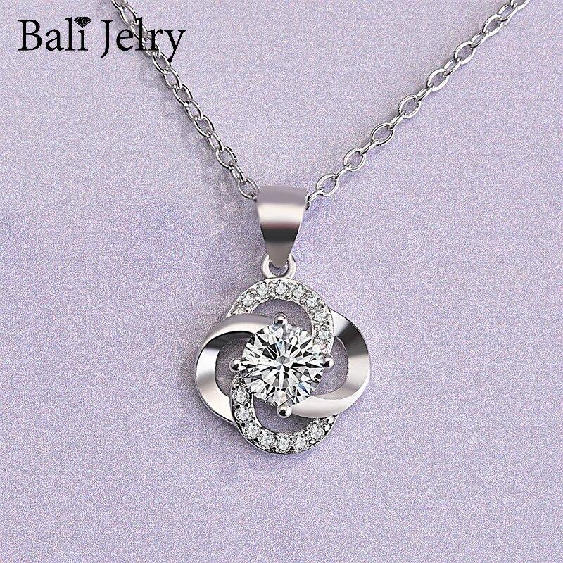 Collar de mujer de moda Bali Jelry, joyería de plata 925, colgante con forma de flor de zirconia preciosa para accesorios de compromiso de boda