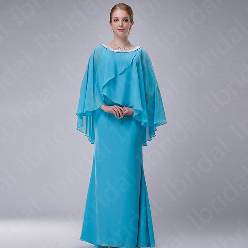 2021 New Arrival Aqua Chiffon Mother of the Bride Dresses with Shawl Beaded Jewel Neckline Wedding P
