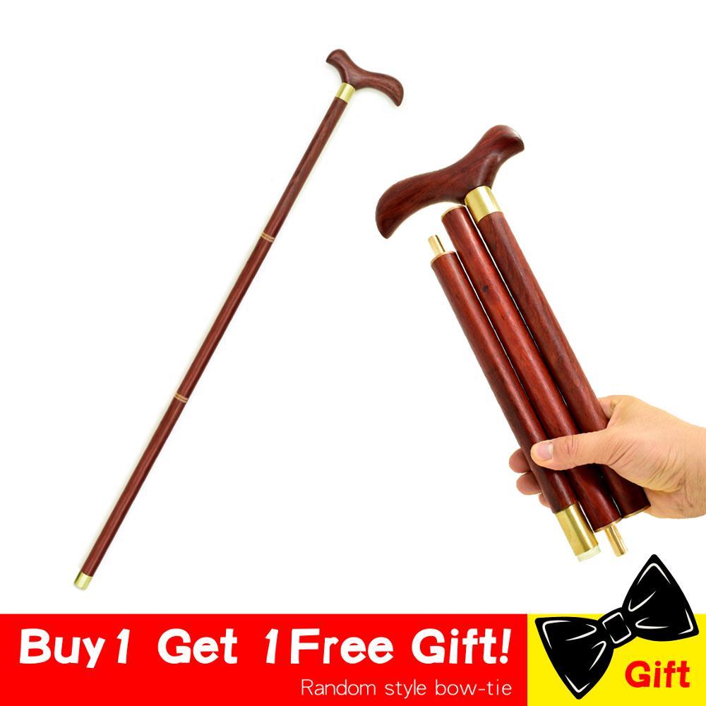 Bastón para caminar plegable de caña de 3 secciones de madera con mango de pájaro palo de madera Vintage bastón suave de caballero bastones