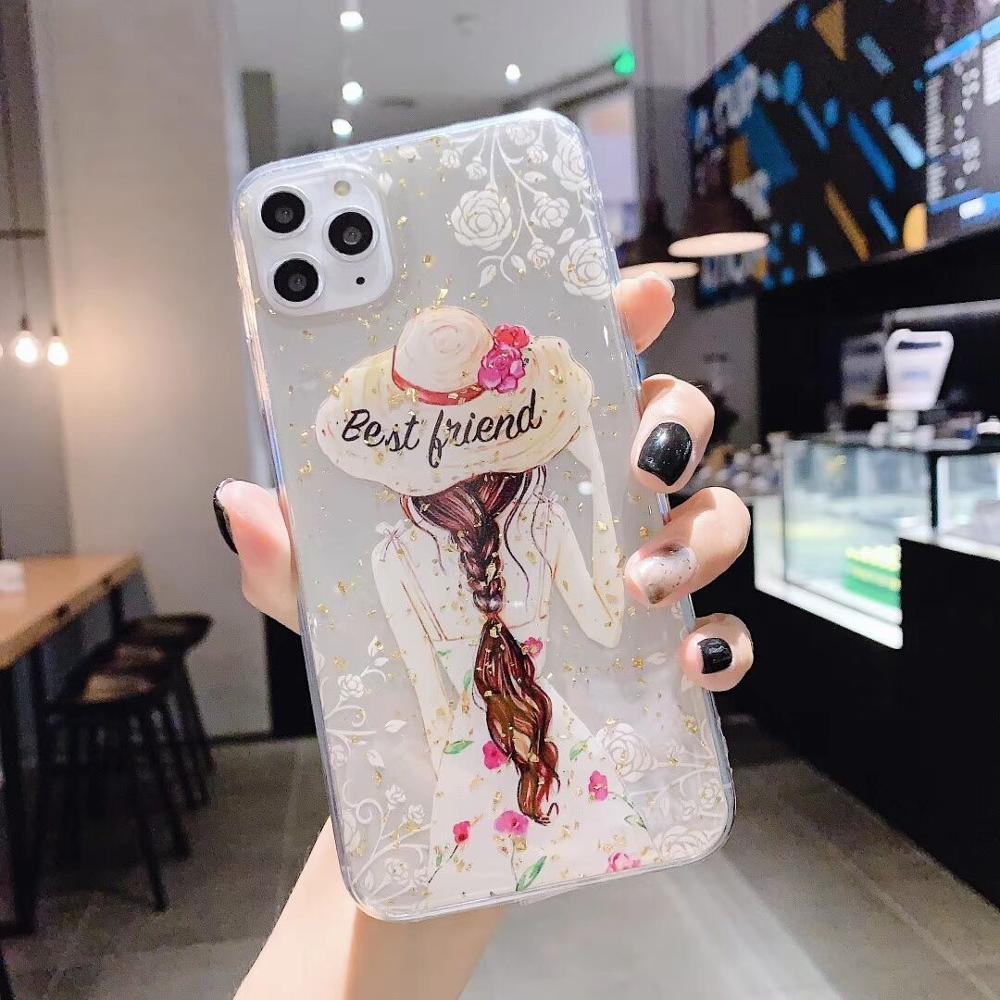 Lujosa funda de teléfono de silicona blanda transparente con purpurina de diosa para iphone 11pro max, funda para iphone XS MAX 6 6s 7 8 Plus X XR