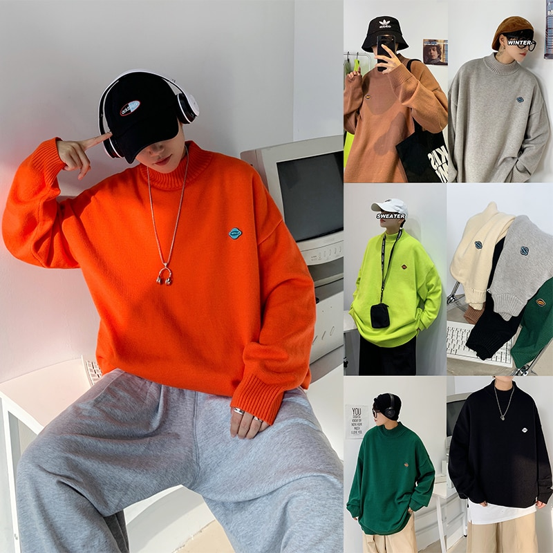 Мужские однотонные свитера, повседневные женские пуловеры оверсайз, Корейская уличная мода 2020, зимняя мужская одежда, трикотажная мужская ...