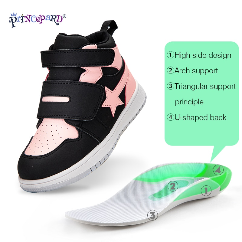 Princepard Kids Shoes Children Orthopedic Sneakers High Back Ankle Support Genuine Leather Stars Anti-Slip Sole Running Shoes enlarge