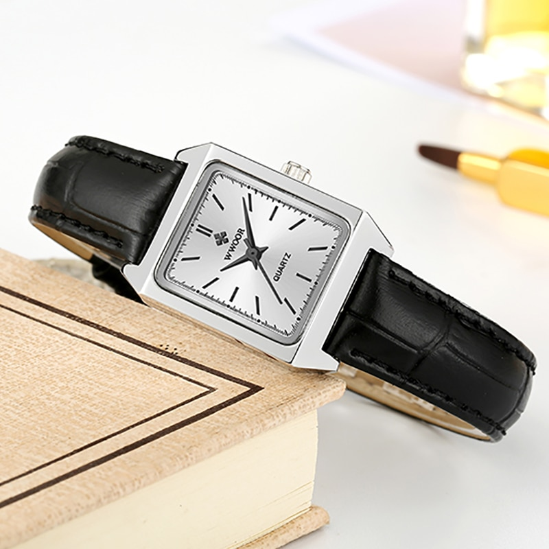 WWOOR Women Watches New Fashion Square Ultra Thin Small Black Leather Female Quartz Watches Ladies Wrist Waches Relogio Feminino enlarge