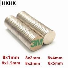 10/100 disque aimant 8x1 8x1.5 8x2 8x3 8x4 8x5mm ceinture avec 3M auto-adhésif NdFeB aimant 8mm néodyme aimant magnétique standard