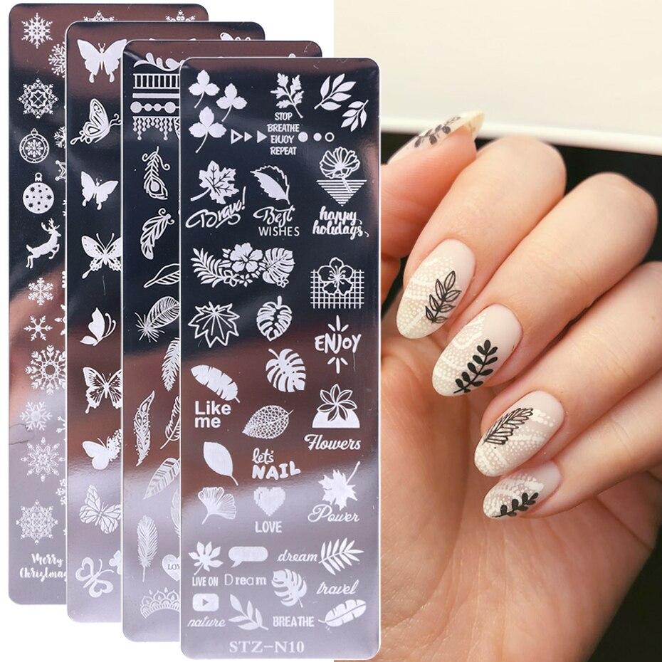 1 шт. штампованные пластины для ногтей Цветочный Лист Геометрические Животные изображения штампы шаблоны Dreamcatch Маникюр Шаблон для печати инструменты LYSTZN01-12