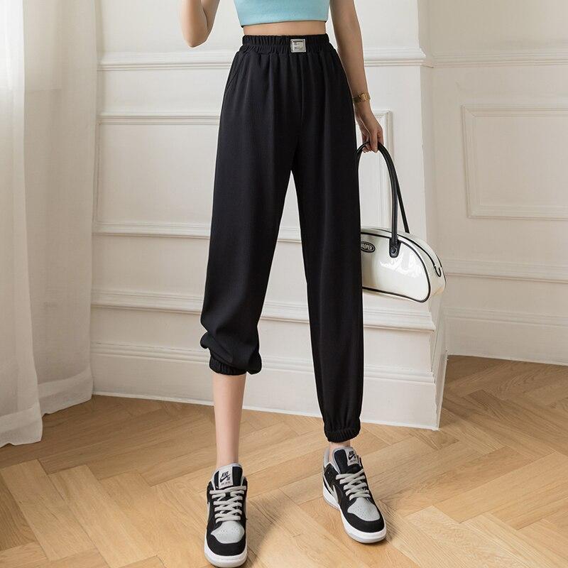 Слаксы женские свободные летние брюки мягкие ледяные шелковые женские брюки с высокой талией тонкие трикотажные брюки женские брюки