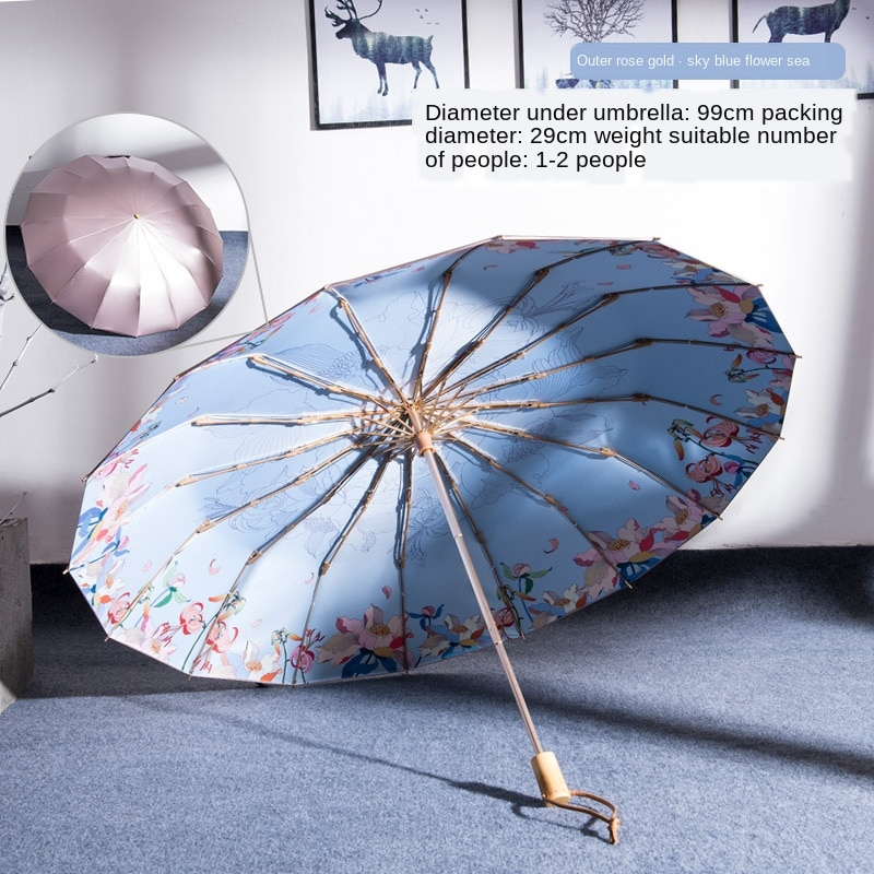 16K windproof three-folding rose flower women umbrella fashion wooden handle color coating sunscreen UV sunny and rainy umbrella enlarge