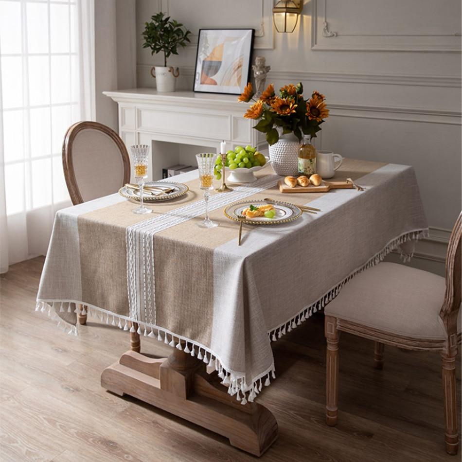 النمط الياباني مخطط القطن و الكتان شرابة Tablecloth مستطيلة المائدة المستديرة الشمال القهوة غطاء الطاولة منشفة Tablecloth