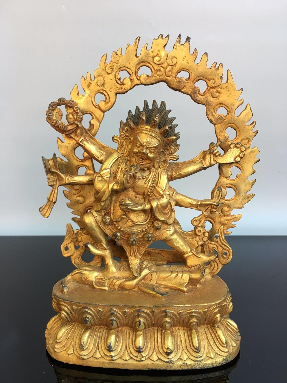 "Decoración de la boda 8 ""templo budista del Tíbet bronce dorado 6 brazos Vajra Buda seis brazos estatua de Mahakala Buddha"